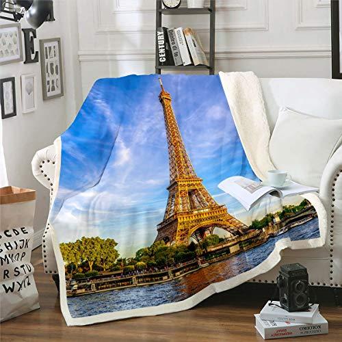 Manta de Forro Polar con diseño de Torre Eiffel para sofá y sofá de París Famoso Paisaje Urbano de París, Manta de Felpa Moderna de Estilo francés, decoración de habitación Doble, 152,4 x 200,