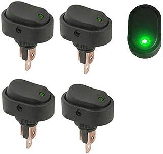 Qiorange 4Pcs Auto KFZ Schalter 12V 30A Wippschalter Ein Ausschalter mit Grün LED Anzeige Wechsel Switch Kippenschalter Schalter