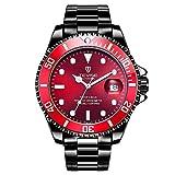Swiss Luminous Submariner Watch Men's Automatic Mechanical Watch Fashion Stainless Steel Waterproof Watch (Black - Red)