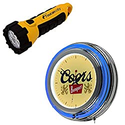 Toucan City LED Flashlight and Global 14 in. Coors Banquet Neon Wall Clock CO1400