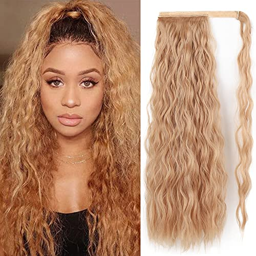 Corn Curly Ponytail Extension22 InchLong Curly Wave Magic Paste Wrap Around Synthetic Hair Extension for White Black Women Daily Use (Light Brown Gold#)