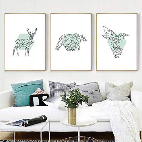 MYSY Moderne Leinwand Malerei Geometrische Tier Nordic Style Bilder Wandkunst Drucke Modular Poster Für Wohnzimmer Home Decor-30x40cmx3 STK. Kein Rahmen