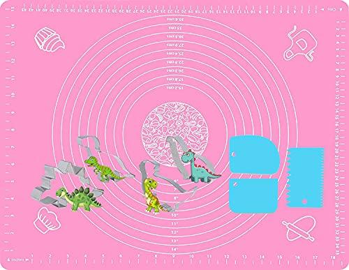 Tapete de Silicona, Gyvazla 60 x 40cm Antiadherente Tapetes para Hornear con 4pcs Moldes de Galletas, 3pcs Raspadores, Amasar Tartas Tapetes para Pasta, Pizza, Torta, Fondant, Resistente al Calor