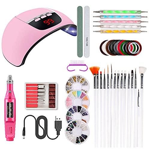 WUYOO Nail Art Sets Nail Kit Nail Dryer Lamp Nail Brushes for 45w Removable Base Beginner DIY at Home Manicure Paint Brush Decorative Plate Nail Drill Machine (pink)