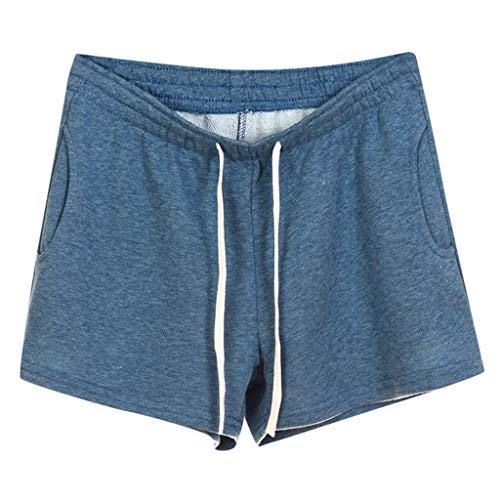 Femme Short de Sport Casual Yoga Mode Plage S-XXL 8 Couleurs en Option Short de Sport rétro - Femme Short de Sport rétro pour Femme(Small,Bleu)
