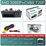 JXXDDQ HD AHD 1080P 170 Grados Fisheye Lens Coche Vista Posterior Reversa Copia de Seguridad Cámara de manija para VW Passat...