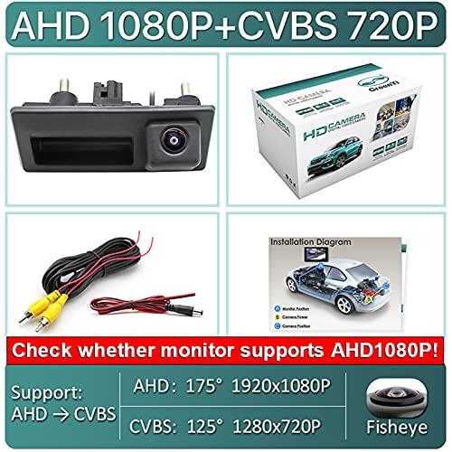 Xuping shop HD AHD 1080P 170 Grados Fisheye Lens Coche Vista Posterior Reversa Copia de Seguridad Cámara de manija para VW Passat Golf Polo Jetta para Audi A4 A6 (Color Name : AHD1080P 175Deg)