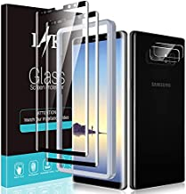[2+2 Pack] LϟK Compatible for Samsung Galaxy Note 8, 2 Pack Tempered Glass Screen Protector + 2 Pack Camera Lens Protector, Full Coverage with Easy Installation Tray, Case Friendly