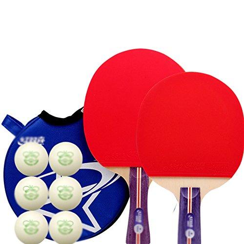 xianw Tenis de Mesa Ping Pong Set - Pack de 2 Palas Premium Raquetas y Pelotas de Tenis de Mesa 6 - Caucho de Esponja Suave - Ideal para Profesional y recreativa Juegos go-A