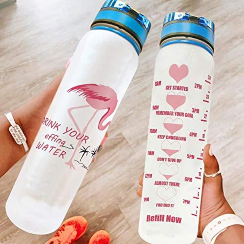 Hothotvery Botella de agua deportiva impresa con flamencos rosas, para beber agua, amor, sin BPA, 1 L, ligera, para fitness, color blanco, 1000 ml