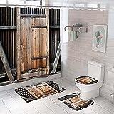 3D Gedruckter Duschvorhang 180x180 cm Graubraune Holztür Wasserdicht Antibakterielles Duschvorhang gesetzt Polyester rutschfest Badematte Waschmaschinenfest