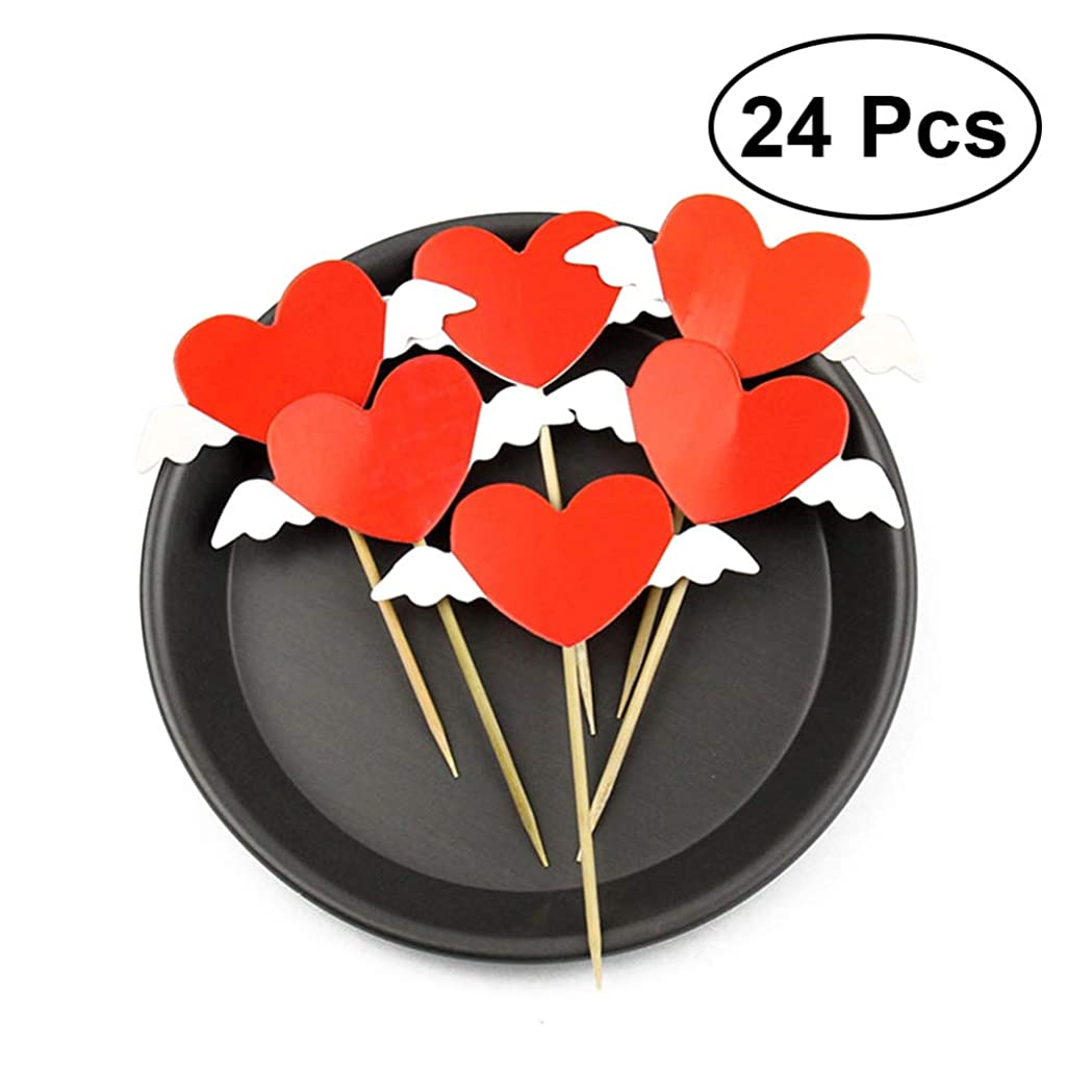 八百屋さん統計グリーンバックTOYMYTOY ケーキトッパー ハート 翼 カップケーキトッパー 飾り ケーキ飾る用品 ウェディング プロポーズ 周年記念 誕生日 バレンタインデー デコレーション 24ピース