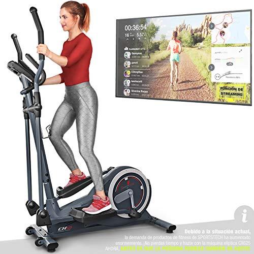 Sportstech CX625 Bicicleta elíptica - Compatible con App Smartphones, Volante de inercia de 24 kg, y 22 programas de Entrenamiento, HRC+Soporte para Tablet