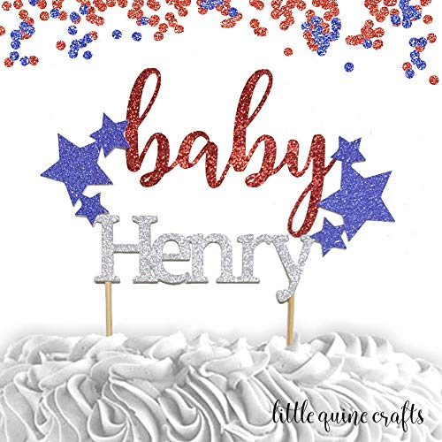 1 pc custom personalise ANY baby name stars patriotic 4th of July Independence Day boy girl cake...