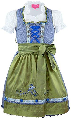 Krüger Madl ® Mädchen Kinderdirndl 3tlg. blau weiss kariert Trachtenkleid Dirndl, Bluse Seidenschürze - Marken - Dirndl Set- ArtNr.: 47761