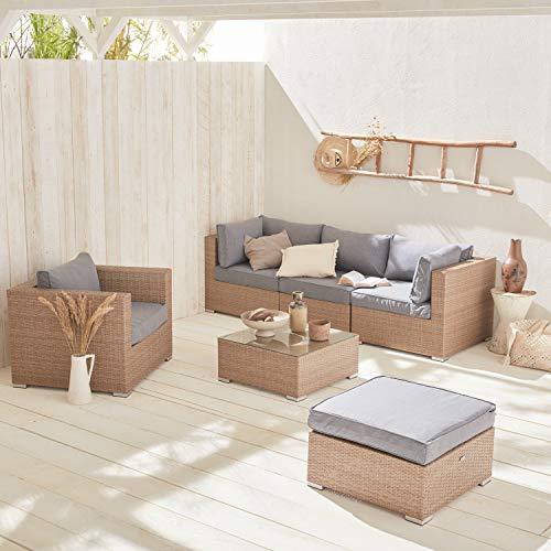 Muebles de jardín de Resina Tejida - Caligari - Gris/Beige, Cojines Beige - 5 plazas - 1 sillón, 1 sillón sin reposabrazos, 1 puf, 2 sillones de Esquina, una Mesa de Centro