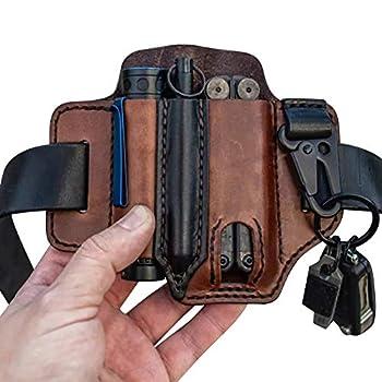 Multitool Cuir Gaine EDC Organisateur De Poche, Gaine en cuir naturel pour Leatherman Multitool EDC Organiseur de poche avec porte-clé pour ceinture et lampe de poche Multitool Pouch, Marron