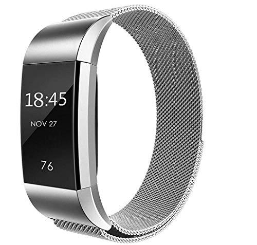 Yiyida Kompatibel für Fitbit Charge 2 Armband, Edelstahl Handgelenk Ersatzband Sport Ersatz Armbänder Metall Uhrenarmband mit Metallschließe für Fitbit Charge 2 Fitness Tracker