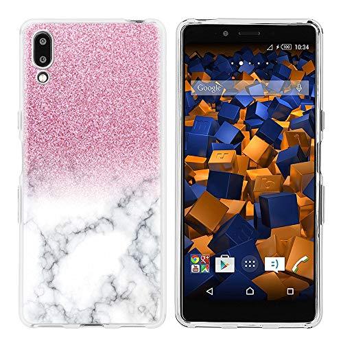 Pnakqil Sony Xperia L3 Hülle,Anti-Kratzen Anti-Fingerabdruck Anti-Fall Hülle Clear Transparent Weich Anti-Gelb Cover TPU Silikon Hülle für Sony Xperia L3 Case,Rosa und weißer Glitter