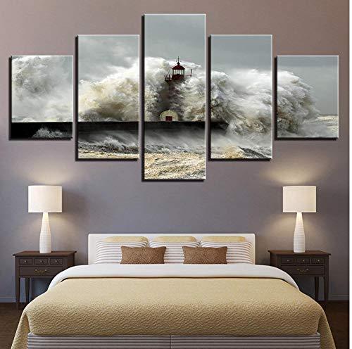 Aisufen decoraties voor thuis, bedrukt, HD-poster met 5 panelen, wandlampen op de zee, Art Modular Canvas frame 40cmx60/80/100cmframe