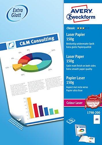 AVERY Zweckform 1798-200 Classic Colour Laser Papier (A4, glatt beschichtet, satiniert, 150 g/m², 200 Blatt)