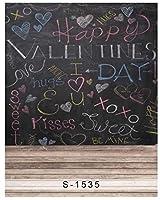 新しい5x7ftビニールバレンタインラブキスブラック黒板スタジオ背景背景