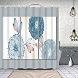 YANAIX Cortina Ducha Impermeable,Set 3 lienzos decoración de Pared Living,Impresión de Cortinas baño con 12 Ganchos 150x180cm