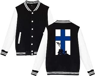 Finland Flag Veteran Military Army Men's Women's Baseball Uniform Jacket Slim Fit Coat