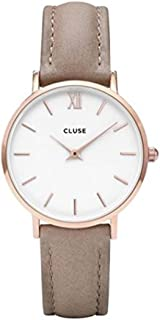 Women's Minuit 33mm Brown Leather Band Metal Case Quartz White Dial Analog Watch CL30043