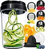 Fullstar Vegetable Spiralizer Vegetable Slicer - 8-in-1 Zucchini Spaghetti Maker Zoodle Maker Veggie Spiralizer - Zucchini Noodle Maker Spiralizer Handheld Cheese Grater Zester Lemon Squeezer