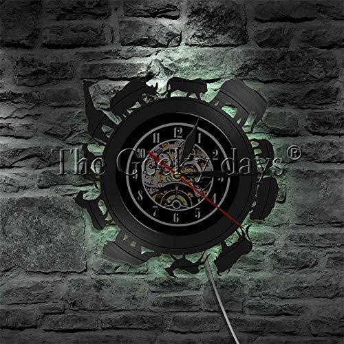fdgdfgd Negro Retro CD Reloj Silueta de Animal Africano LED
