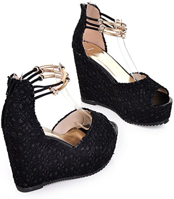 WHW Women's Slippers Summer Comfort PU Dress Chunky Heel Crystal Flip-Flops,Black,38
