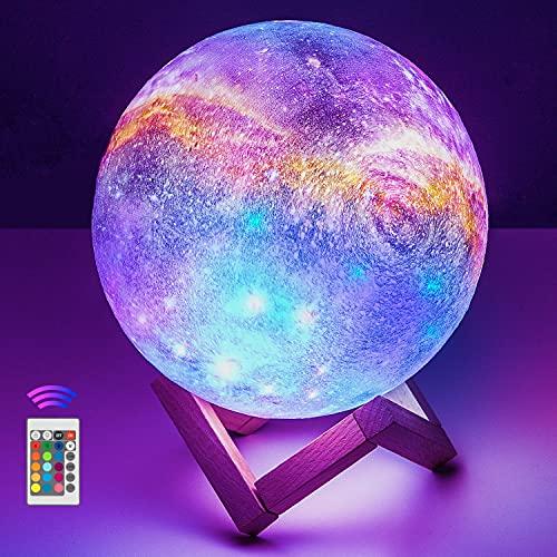 Lámpara Luna 3D, OxyLED 20cm Brillo Regulable 16 Colores RGB Recargable USB Control remoto y Control táctil LED Lunar Luz Nocturna Decorativa para Dormitorio, Salón, Regalo para Mujeres y Niños