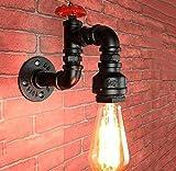 JINKEBIN Lámpara de pared Estilo industrial lámpara de pared del tubo de agua de Steampunk luces de la pared creativo de la pared de luz de la vendimia Hierro Negro cuerpo de la lámpara para, Negro, u