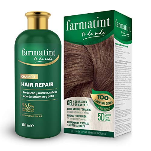 Farmatint Tinte permanente 5D Castaño Claro Dorado + Champú, 96.5% ingredientes naturales, fortalece y nutre el cabello, sin siliconas, sin SLS - 250 ml