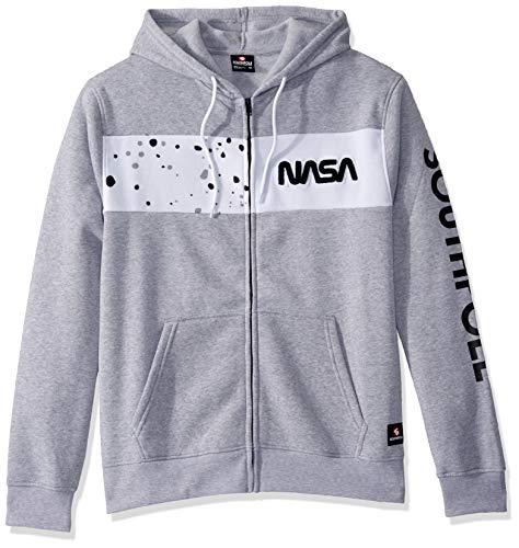 Southpole Men's NASA Collection Fleece Sweatshirt (Hoody, Crewneck), Heather Grey White, X-Large