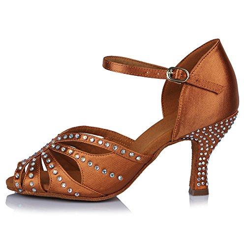 HROYL Zapatos de Baile para Mujeres y Niñas Latino de Diamantes de imitación Señoras Salsa Latina Tango Zapatos de Boda de satén,ESAF43502,Marrón,39EU