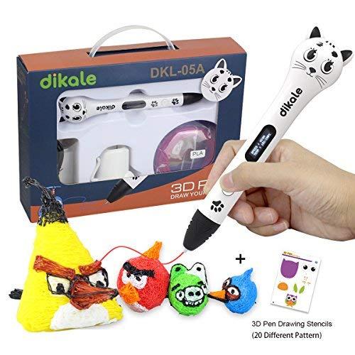 3D Stift Set für Kinder, 3D Stifte mit OLED Display, 2 x 7.5M PLA Filament + 20 Seiten Schablonen für Kritzelei, Basteln, Zeichnung, Kunstwerk, einzigartige Geburtstags-und Weihnachtsgeschenke für Kinder und Erwachsene (Ein-Tasten-Bedienung)