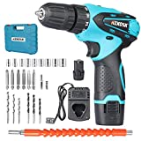 Azkosk 12V Cordless Drill Driver Kit, 25Pcs Cordless Drill Driver Kit, Max Torque 40Nm,Fast Charger, 18+1 Clutch, 2 Variable Speed, Built-in LED with 2 Batteries for Home Improvement & DIY Project