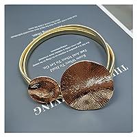 女性用ベルト 弾性ゴールドチェーンベルトストレッチシルバーメタルラインストーンベルトの女性光沢のあるストラスなしバックル薄い容易なベルト (Belt Length : Waist 65-90 cm, Color : Metal belt gold)