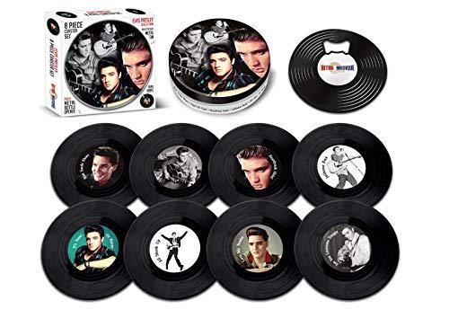 Elvis Presley – 8-teiliges Mini-Vinyl-Schallplatten-Untersetzer-Set mit Dose und magnetischem Flaschenöffner von Retro Musique