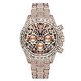 Reloj Helado para Hombre Hip Hop Bling Diamantes simulados Banda de Metal Reloj de Pulsera Reloj Estampado con Estampado de Leopardo