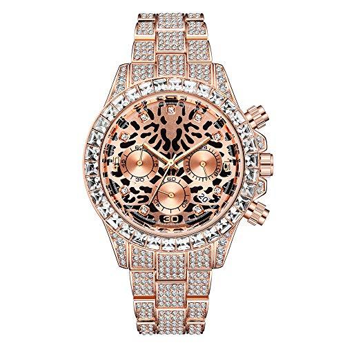 Hip Hop Reloj para Hombres Reloj de Leopardo Reloj de Pulsera para Hombre Helado Bling Bling Crystal Full Diamond Quartz Wristwatch