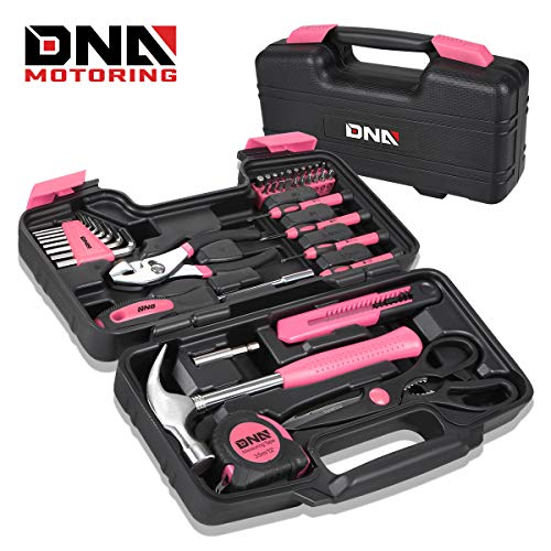 DNA MOTORING Pink 39 PCs Portable TooL Kit Household Hand Toolbox General Repair Screwdriver Pliers Hammer Hex (TOOLS-00009)