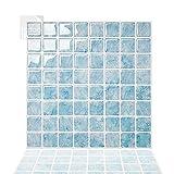 Tic Tac Tiles 25 cm x 25 cm 5 Láminas, 3D Azulejos Adhesivo Mosaico Pegatinas para azulejos de la pared para Cocina y Baño - Cuadrado Cuadrado Agua Mármol Azul