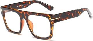 Unisex Stylish Square Non-prescription Eyeglasses Glasses Flat Top Big Eyeglass Frames Large lens Clear Lens Eyewear