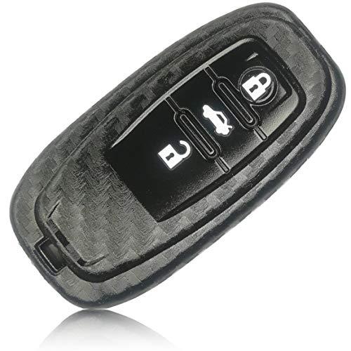 FoilsAndMore Hülle kompatibel mit Audi 3-Tasten Autoschlüssel SmartKey (nur Keyless-Go) - Silikon Schutzhülle Cover Schlüsselhülle in Carbon Schwarz