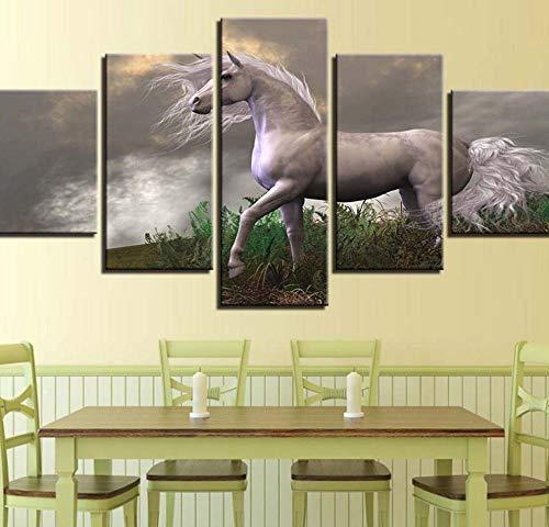 PrintWUHUA Cuadros para Dormitorios Modernos Unicornio Blanco Cuadros Decoracion Salon Modernos 5 Partes
