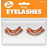 Orange Tinsel Eyelashes, Party Accessory