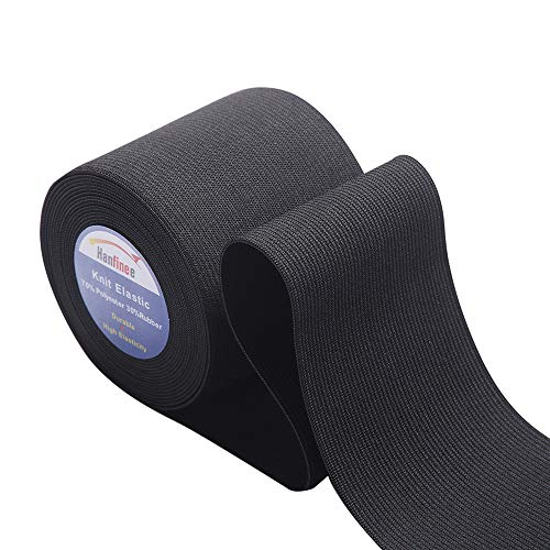HANFINEE 3 Inch Wide Sew on Elastic Band Knitted Elastic with Heavy Stretch forSewing Crafts DIY,Waistband,Bedspread,Cuff(Black,5 Yards)